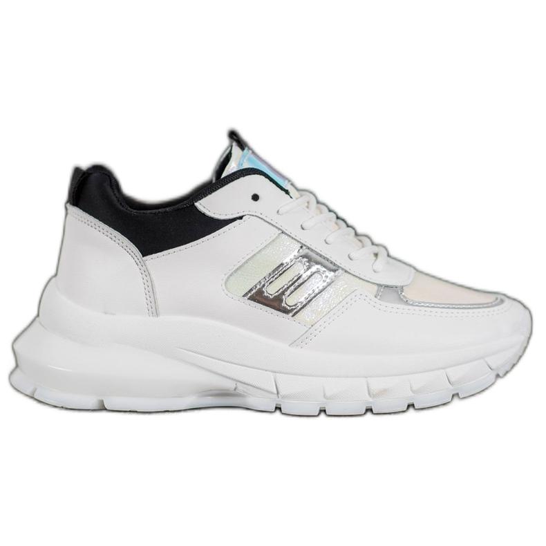 SHELOVET Modne Sneakersy Z Eko Skóry białe czarne wielokolorowe