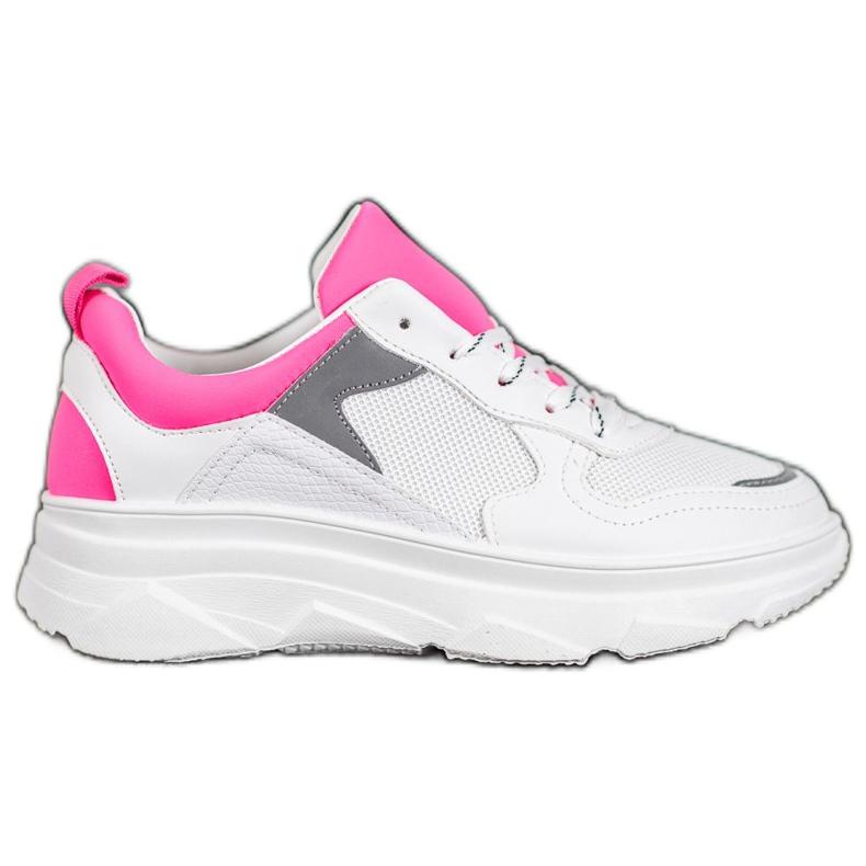 SHELOVET Casualowe Sneakersy Z Eko Skóry białe różowe
