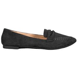 Best Shoes Zamszowe Mokasyny W Szpic czarne