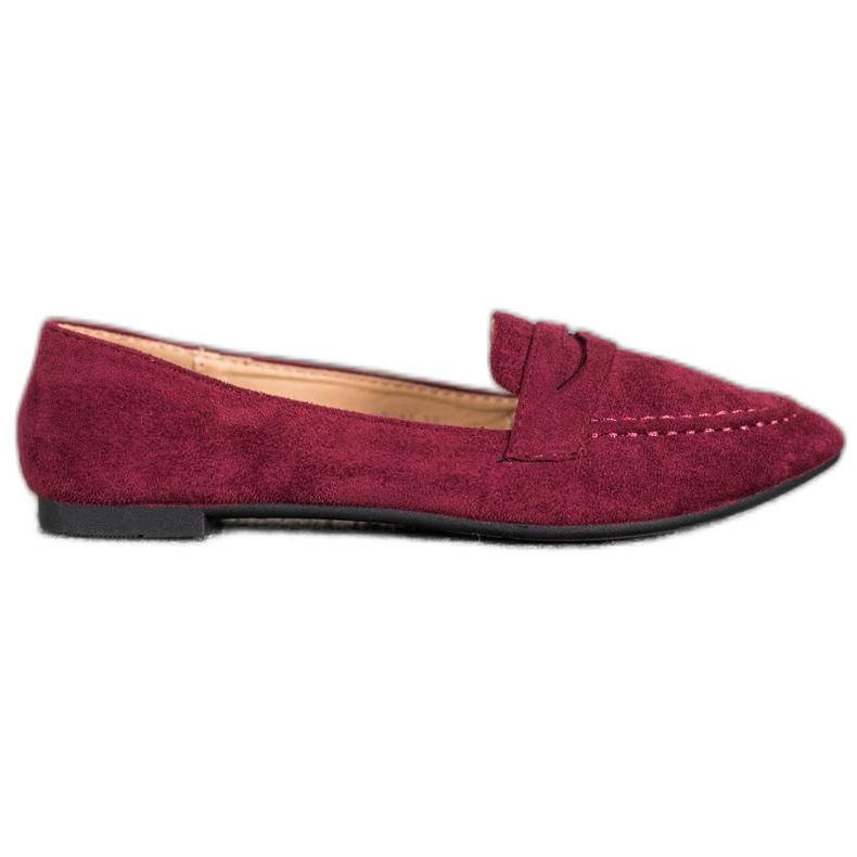 Best Shoes Zamszowe Mokasyny W Szpic czerwone