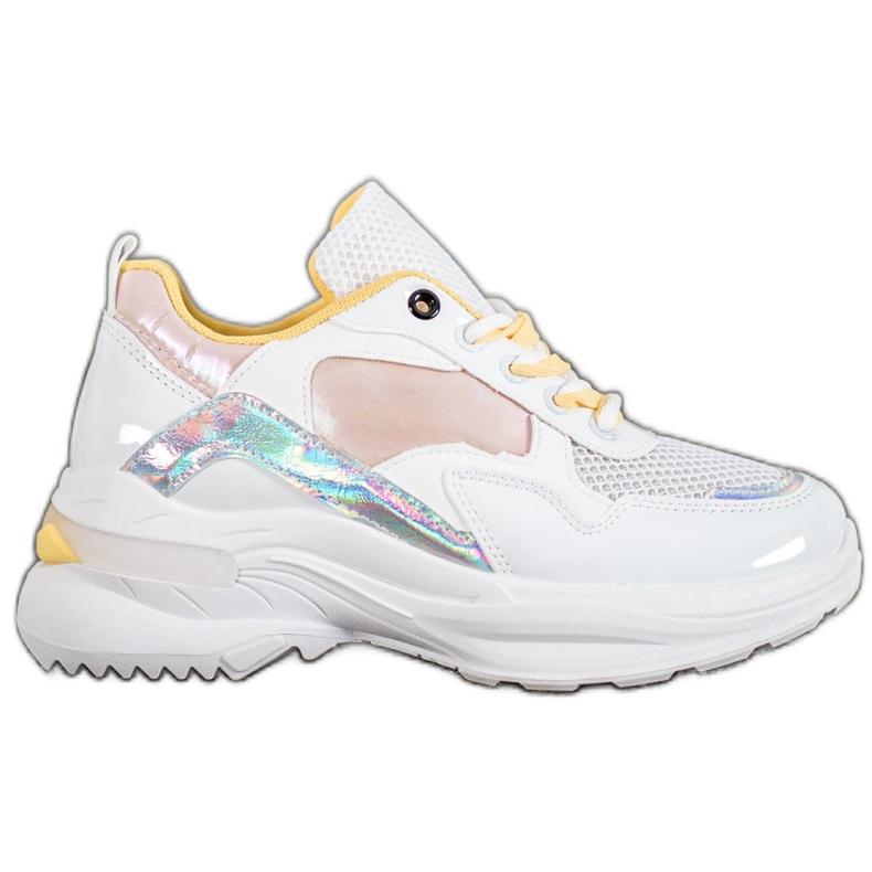 SHELOVET Stylowe Sneakersy Z Eko Skóry białe wielokolorowe