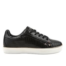 Czarne stylowe trampki damskie 6173-Y