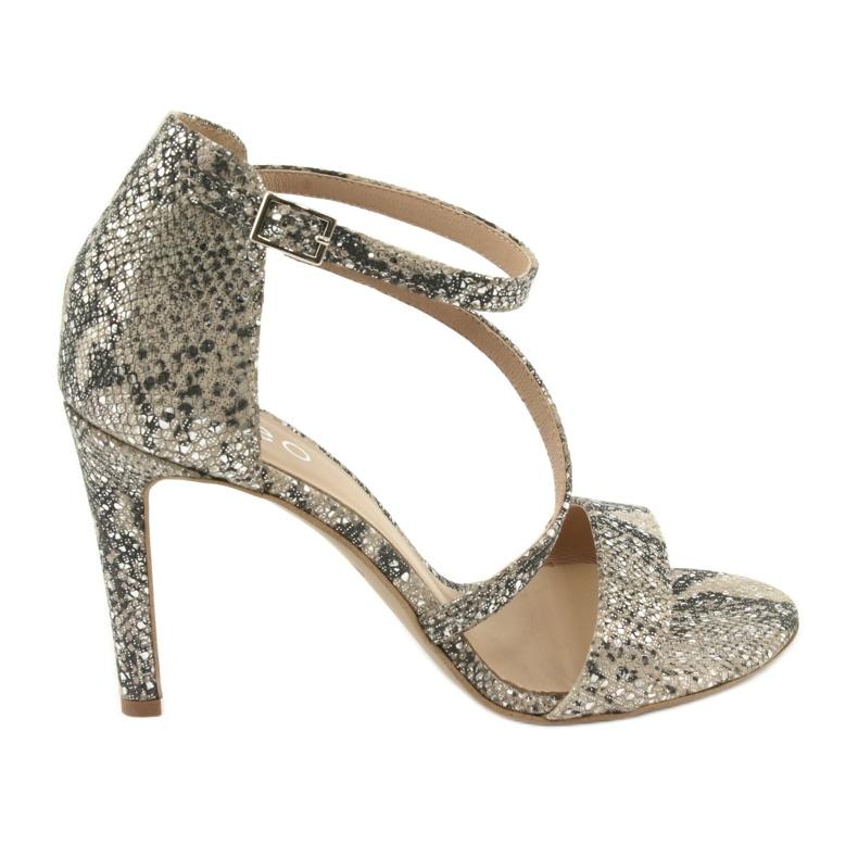 Sandały skórzane na szpilce Edeo 3344 wąż/beż beżowy szare