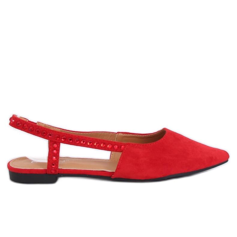 Baleriny z odkrytą piętą czerwone YJ335 Red