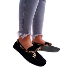 LU BOO Czarne damskie mokasyny obuwie zamszowe 301-10