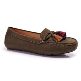 S.Barski Khaki mokasyny damskie obuwie zamszowe A199-23A