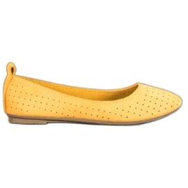 SHELOVET Ażurowe Baleriny żółte
