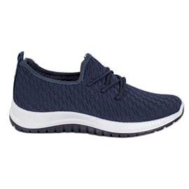 SHELOVET Granatowe Ażurkowe Buty Sportowe niebieskie