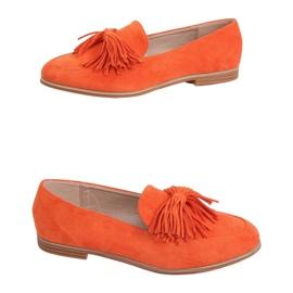 Mokasyny damskie z frędzlami pomarańczowe T357P Orange