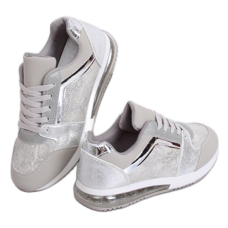 Buty sportowe damskie srebrne BL206 Silver szare