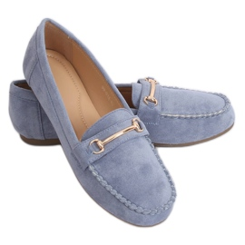 Mokasyny damskie niebieskie 99-01A Blue