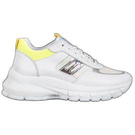 SHELOVET Modne Sneakersy Z Eko Skóry białe srebrny żółte