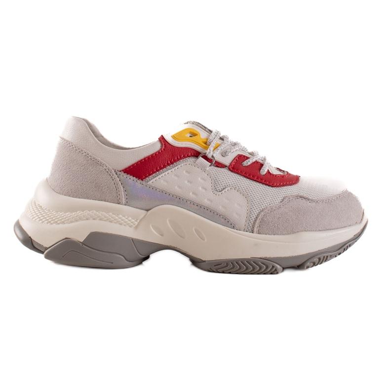 Goodin Wygodne Sneakersy Ze Skóry białe szare wielokolorowe