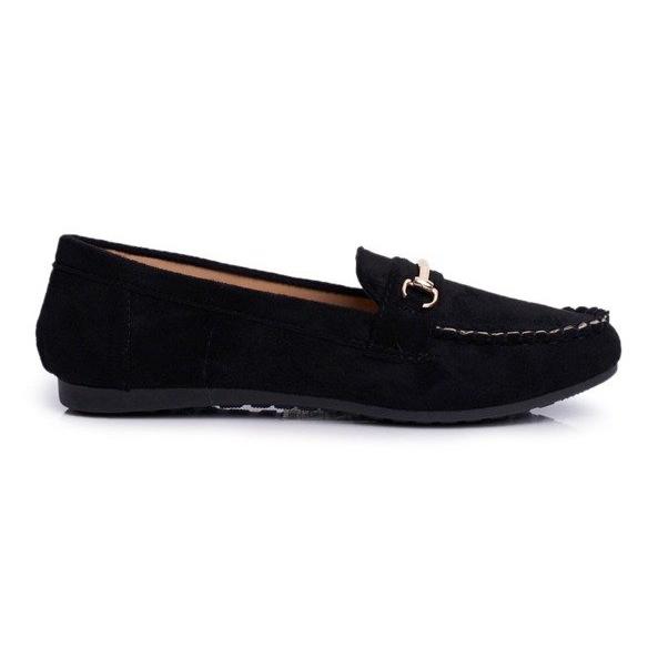 BUGO Czarne obuwie damskie mokasyny zamszowe 99-01A