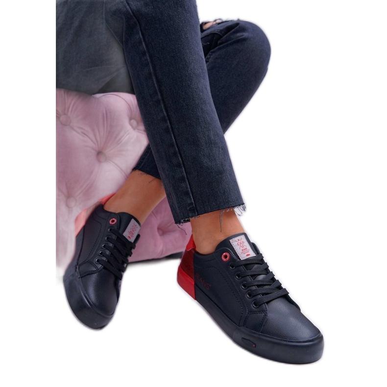 Cross Jeans Czarne trampki damskie EE2R4019C czerwone