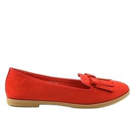 Czerwone mokasyny lordsy z eko-zamszu 2358