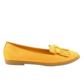 Żółte mokasyny lordsy z eko-zamszu 2358