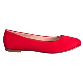Best Shoes Zamszowe Baleriny czerwone