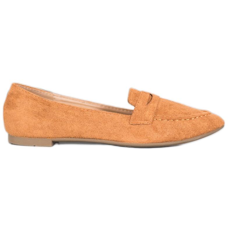 Best Shoes Zamszowe Mokasyny W Szpic brązowe