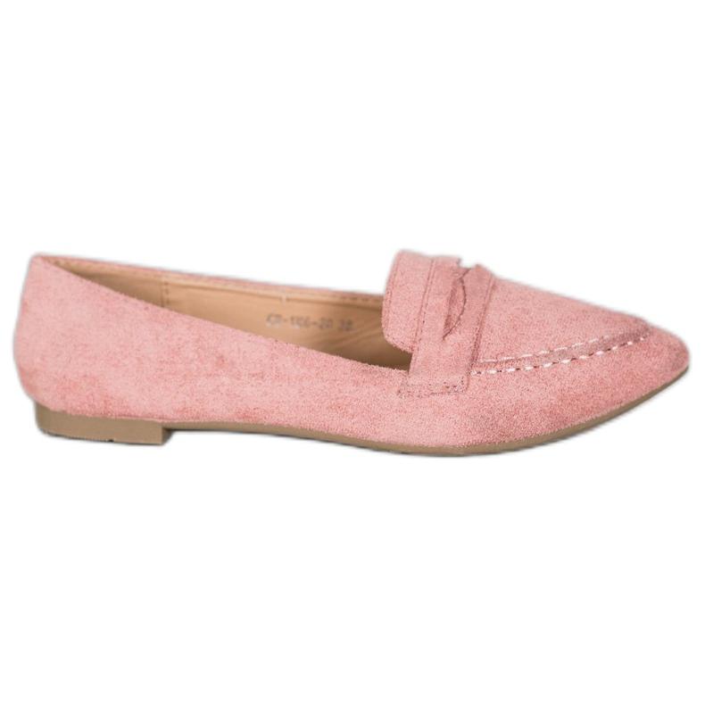 Best Shoes Zamszowe Mokasyny W Szpic różowe