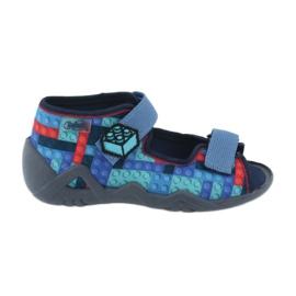 Befado obuwie dziecięce 250P094 niebieskie szare wielokolorowe