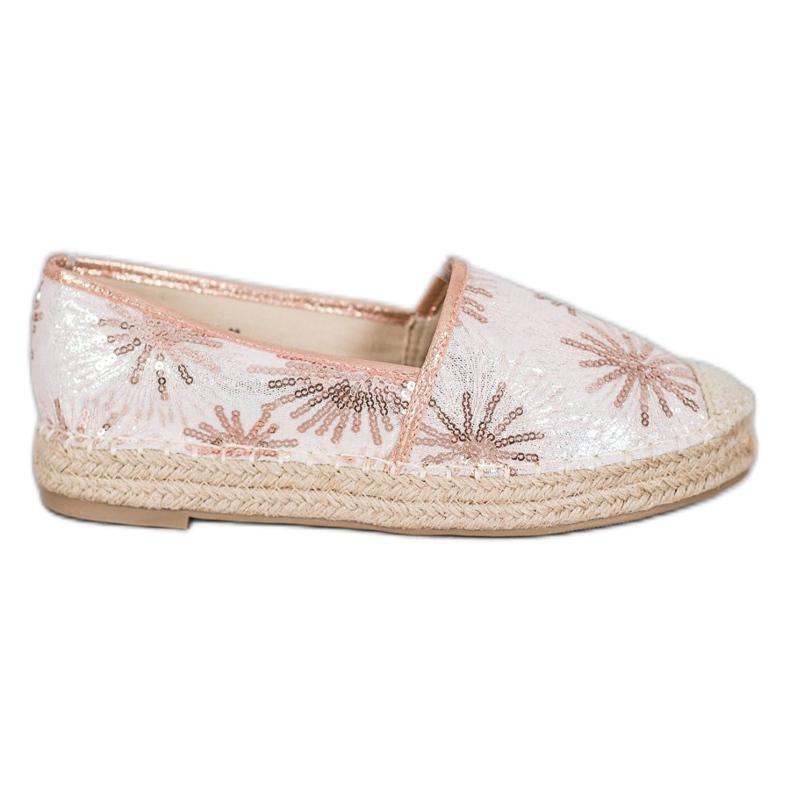 Best Shoes Cekinowe Espadryle różowe