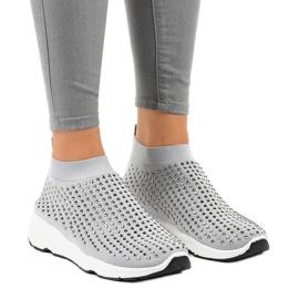 Szare obuwie sportowe zdobione cyrkoniami LG27