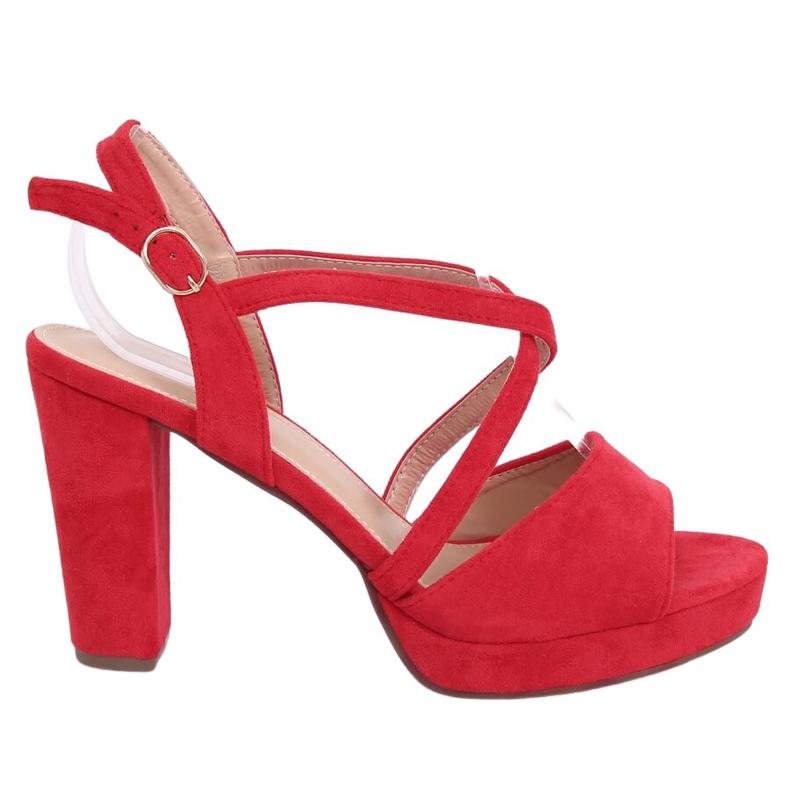 Sandałki na obcasie czerwone 9272 Rojo