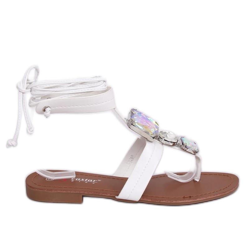 Sandałki japonki z kamieniami białe JH126P White