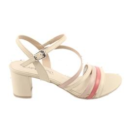 Caprice sandały buty damskie 28304 beżowy czerwone