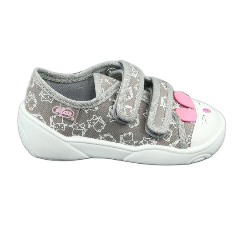 Befado obuwie dziecięce 907P116 białe różowe szare