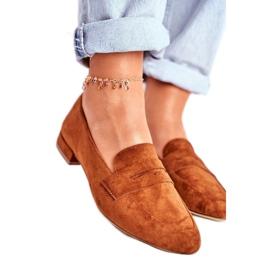Sergio Leone Brązowe obuwie damskie mokasyny zamszowe MK734