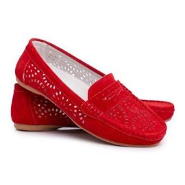 S.Barski Czerwone ażurowe mokasyny zamszowe LR92309