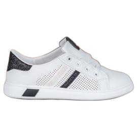 SHELOVET Białe Buty Sportowe Z Brokatem czarne