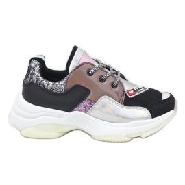 Czarne stylowe sneakersy sportowe B0-206 wielokolorowe