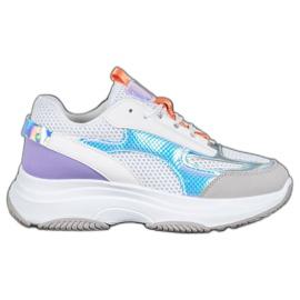 Bona Białe Sneakersy Z Siateczką fioletowe szare wielokolorowe