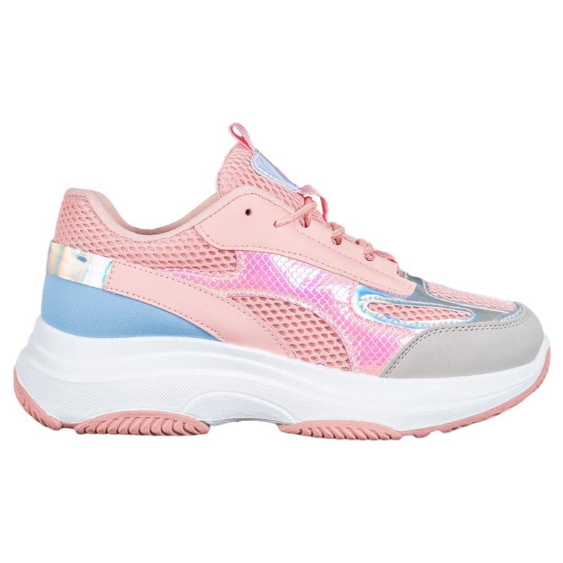 Bona Różowe Sneakersy Z Siateczką