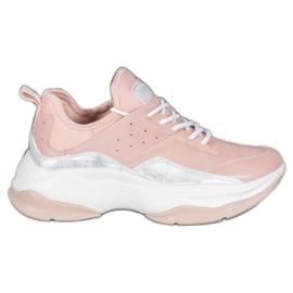 Kylie Wygodne Sneakersy Na Platformie różowe szare
