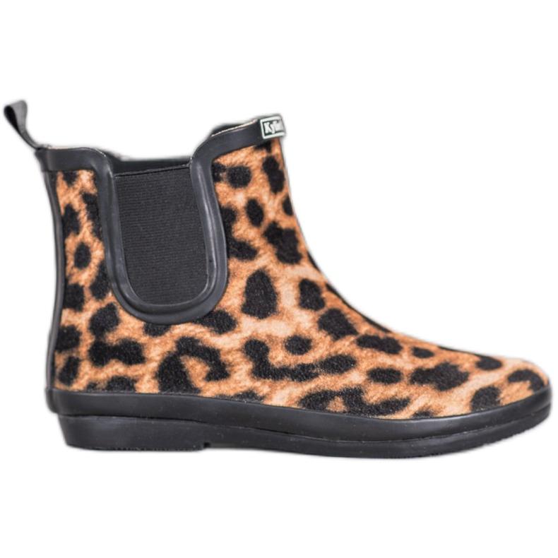 Kylie Zamszowe Kalosze Leopard Print brązowe czarne
