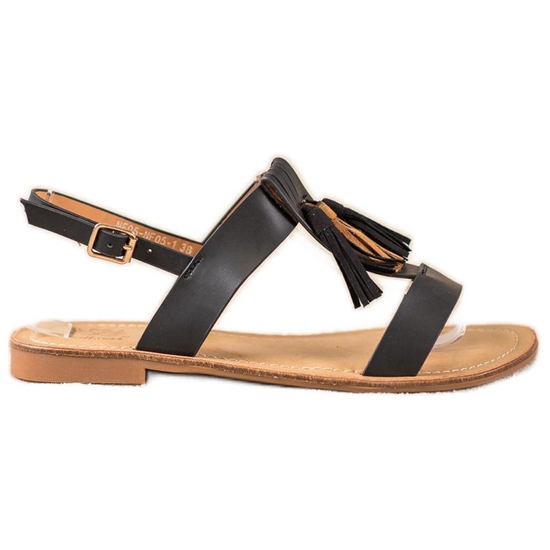 Small Swan Klasyczne Sandałki Z Frędzlami czarne