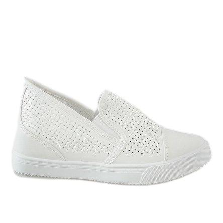 Białe ażurowe sneakersy na koturnie DD441-2