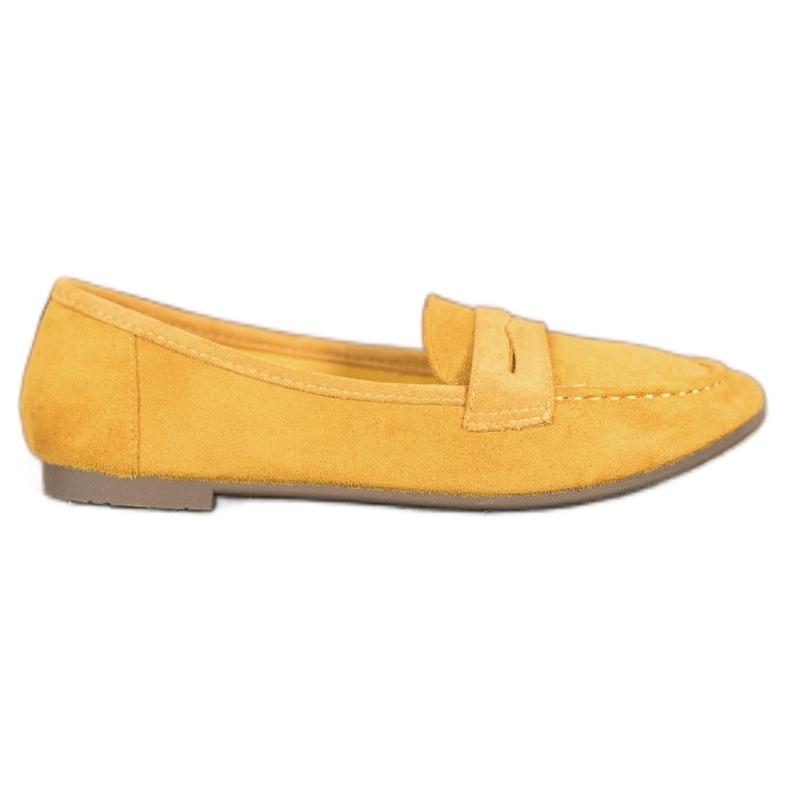 SHELOVET Casualowe Mokasyny Z Zamszu żółte