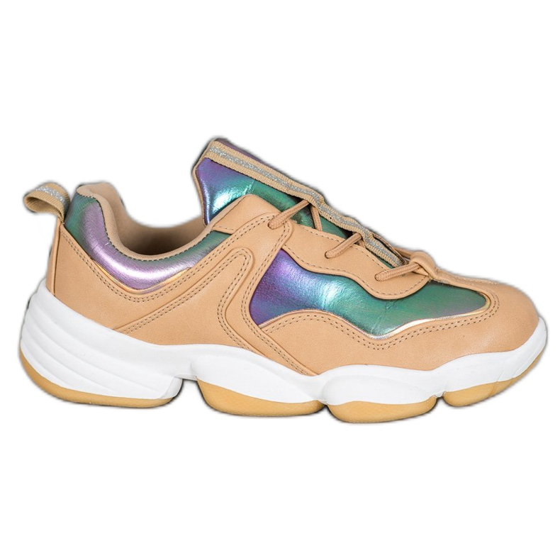 Kylie Stylowe Buty Sportowe beżowy wielokolorowe