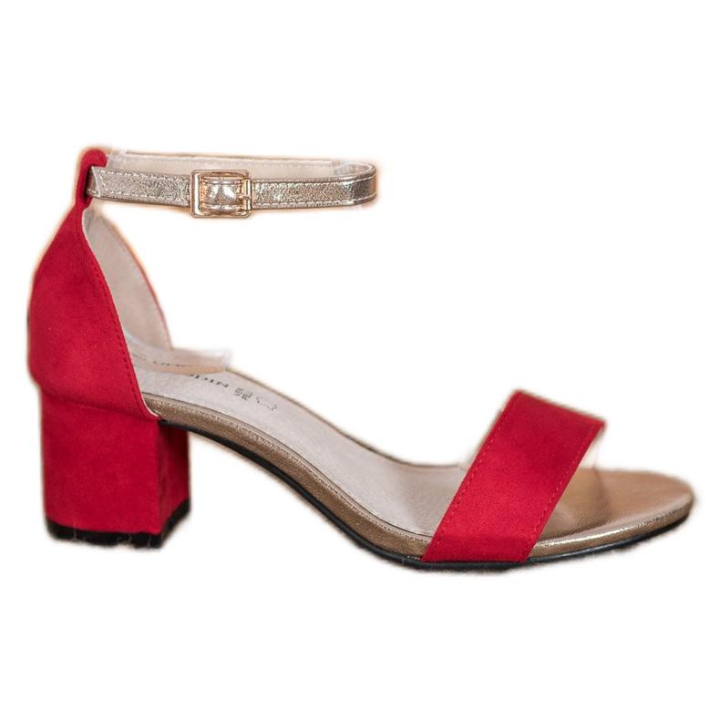 Goodin Eleganckie Sandały Na Słupku czerwone żółte