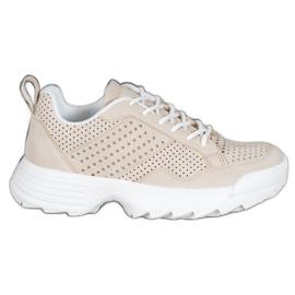 Kylie Lekkie Ażurowe Sneakersy brązowe