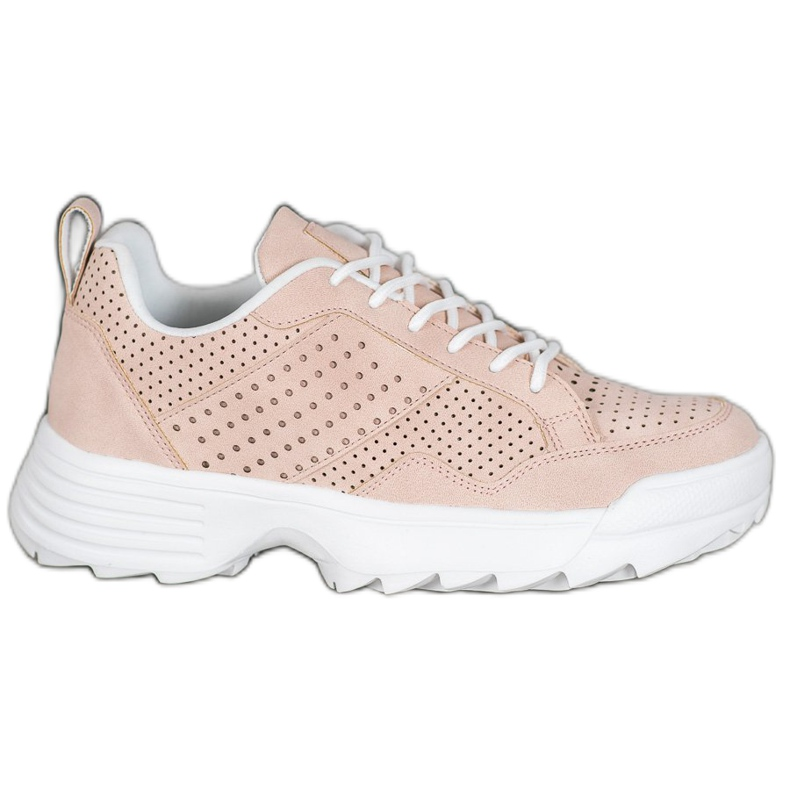 Kylie Lekkie Ażurowe Sneakersy różowe