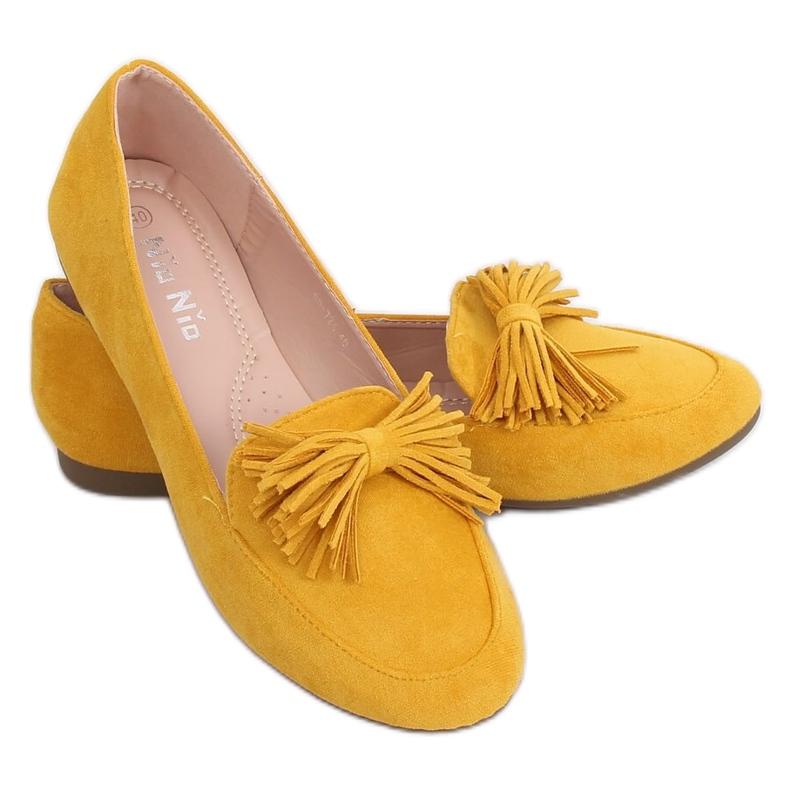 Mokasyny damskie miodowe 99-72A Yellow żółte