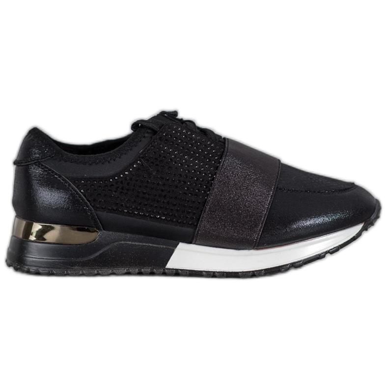 SHELOVET Buty Sportowe Z Kryształkami czarne