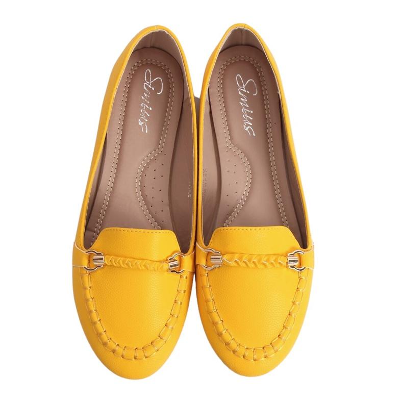 Mokasyny damskie miodowe A8636 Yellow żółte