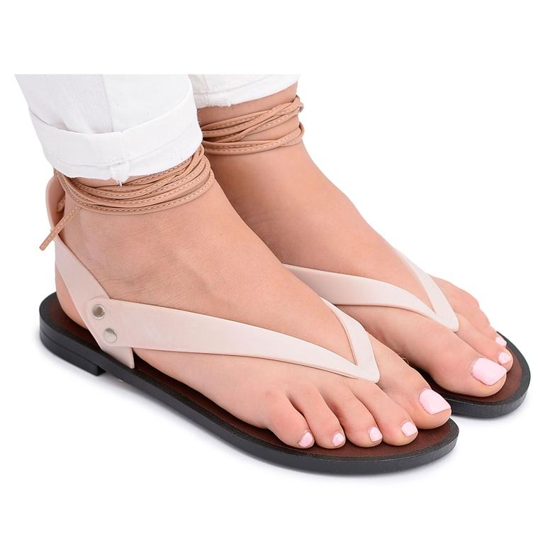Lu Boo Beżowe Wiązane Sandały Japonki Meliski Florence beżowy